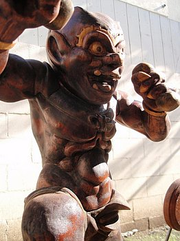 Modern Wood Statue of Raijin by LA Artist David Bilbrey