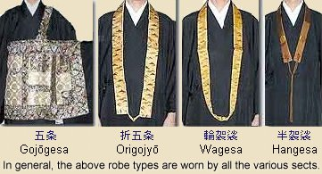 Gojogesa, Origojyogesa, Wagesa, Hangesa -- Types of Robes Worn by Japanese Monks
