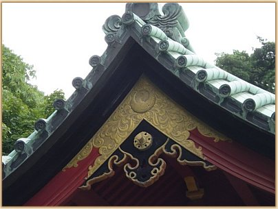 Roof above the purification font (water basin) at Tsurugaoka Hachimangu Shrine in Kamakura