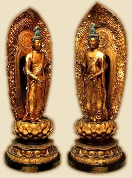 Seishi and Kannon Bosatsu, Standing in Tribankha Pose (hands outstreched in varada and vitarka mudras)