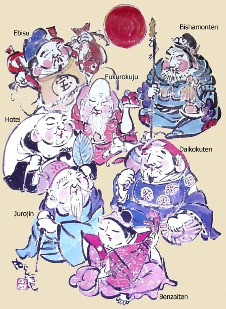 Seven Lucky Gods of Japan - Poster Image found at Myoryuji Temple