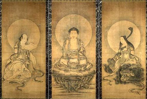 Shaka Triad with Historical Buddha, Monju, and Fugen