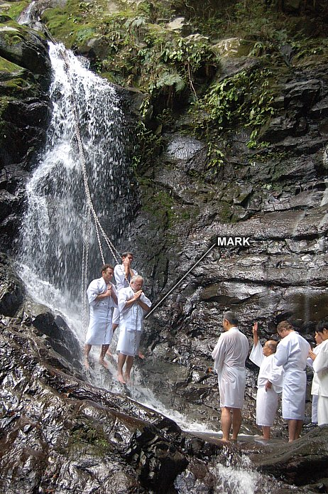 Site author undergoing purification ritual at Mt. Inunaki, a Shugendo site. June 2011.