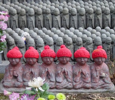 Six Jizo Statues at Hase Dera in Kamakura, Japan
