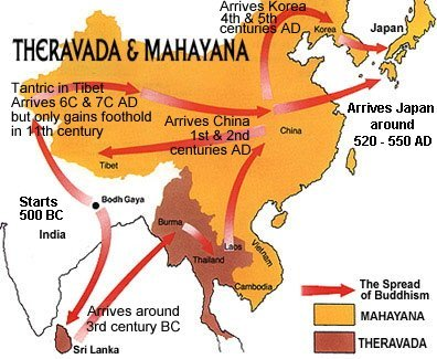Map showing spread of Theravada (Hinayana) and Mahayana Buddhism