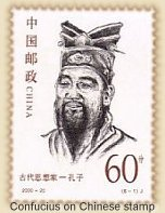 The Chinese Sage Confucius on stamp from China