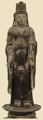Taishakuten, Wood with gold leaf, Heian Era 10th Century, Houryuu-ji Temple