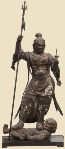 Tamonten, 110 cm Wood, Heian Period, 11th Century, Houryuu-ji Temple