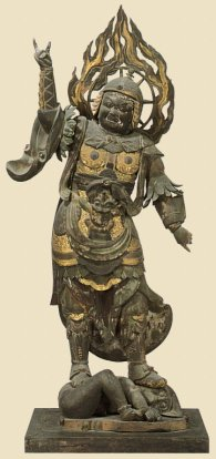 Tamonten, 94 cm, Wood with Pigment, Heian Period, 12th Century, Houryuu-ji Temple