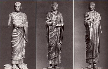 Three of the Ten Disciples, 734AD, Kofukuji, Sharihotsu, Mokukenren, and Kasen-en