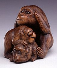 Netsuke, Boxwood with inlaid tortoise shell eyes,  late 19th Century, ht. 1.25 inches (3.2 cm), courtesy asianart.com