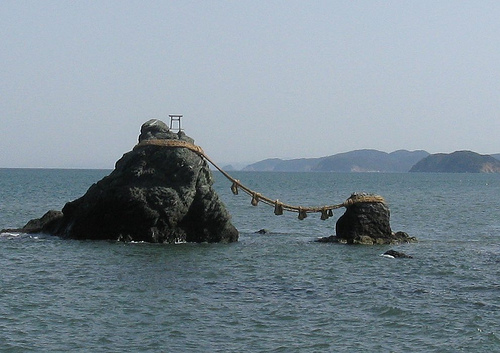 Wedded Rocks, due east of the Grand Shrines of Ise. Photo by Steve Beimel.