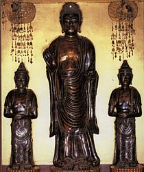 "Amida Triad at Zenkoji, one of the ""first""statues brought to Japan; Photo Source: http://www.humnet.ucla.edu/humnet/arthist/cv/mccallum.htm"